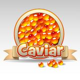 Red caviar label Stock Photography
