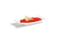 Red caviar and  lemon Royalty Free Stock Photo