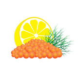 Red caviar with lemon and dill. Red salmon caviar with lemon and dill vector illustration isolated on white background Royalty Free Stock Photo