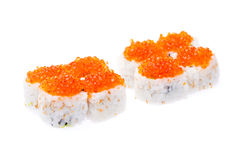 Red caviar maki Royalty Free Stock Photo