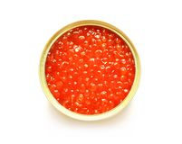 Red caviar in the open metal container Stock Photos