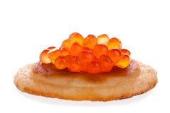 Red caviar on a pancake Royalty Free Stock Photos