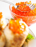 Red caviar with pancakes Royalty Free Stock Image