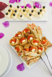 Red caviar with pancakes Stock Images
