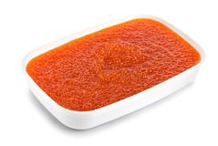 Red caviar in a plastic container Royalty Free Stock Image