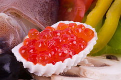 Red caviar and raw cocktail Stock Photos