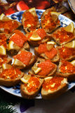 Red caviar and red fish bread and butter Royalty Free Stock Image