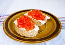 Red caviar sandwich Stock Photography