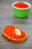 Red caviar sandwich Stock Image