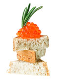 Red caviar sandwich with rosemary twig Royalty Free Stock Images