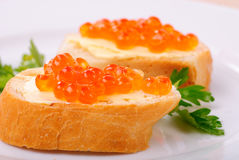 Red caviar sandwiches Royalty Free Stock Photography