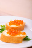 Red caviar sandwiches Stock Photo