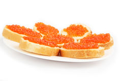 Red caviar sandwiches Royalty Free Stock Photo