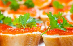Red caviar sandwiches Royalty Free Stock Image