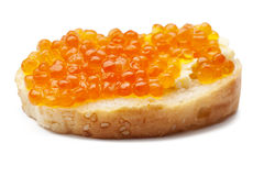 Red caviar sandwiches on white. Red caviar sandwiches  on white  background Royalty Free Stock Photos