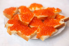 Red caviar sandwiches Stock Images