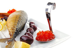 Red caviar and sea fish Stock Images