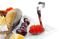Red caviar and sea fish
