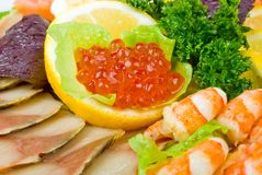 Red caviar and seafood Royalty Free Stock Photo