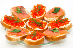 Red caviar and smoked salmon Stock Photos