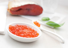 Red caviar and smoked salmon Royalty Free Stock Photography