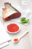 Red caviar and smoked salmon Royalty Free Stock Images