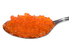 Red caviar on a spoon Stock Photo