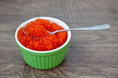 Red caviar with spoon Royalty Free Stock Photos
