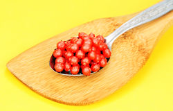 Red caviar in the spoon. Stock Images