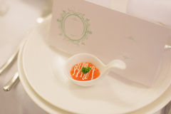 Red Caviar in Spoon. On plate with card Stock Photos