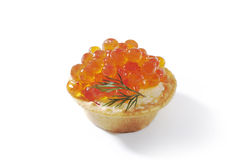 Red caviar in tartlet isolated. Red caviar in tartlet, isolated on white background stock photos