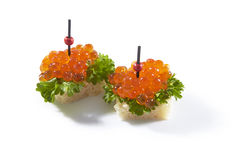 Red caviar in tartlet, isolated. On white background stock photos