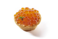 Red caviar in tartlet, isolated. On white background Royalty Free Stock Photo