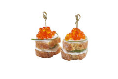 Red caviar in tartlet, isolated. On white background royalty free stock images