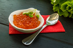 Red caviar in a tartlet Stock Photos