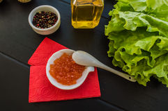Red caviar in a tartlet Stock Photography