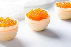 Red caviar tartlets, appetizer canapes on bright background Royalty Free Stock Image