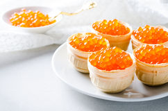 Red caviar tartlets, appetizer canapes on bright background Stock Photos