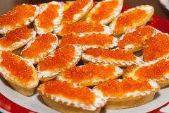 Red caviar in tartlets Royalty Free Stock Photography
