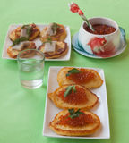 Red caviar and thick potato pancakes at Shrovetide & x28;mass produce Royalty Free Stock Photos