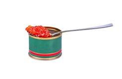 Red caviar in tin Stock Photos