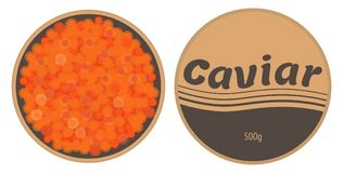 Red caviar in a tin with a lid vector. Red caviar in a tin with a lid isolated on white. Vector illustration. Top view Stock Photo