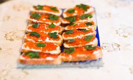 Red caviar on white plate Royalty Free Stock Photos
