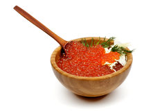 Red Caviar in Wood Bowl Stock Images
