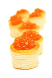 Red cavier in tartlets. Stock Photo