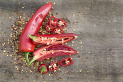 Red cayenne chili peppers on wooden background Royalty Free Stock Image