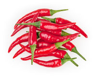 Red cayenne peppers isolated on white Royalty Free Stock Image