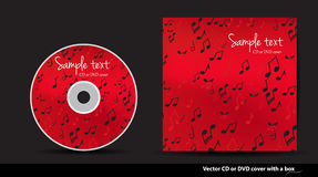 Red  CD or DVD cover design with notes Royalty Free Stock Images