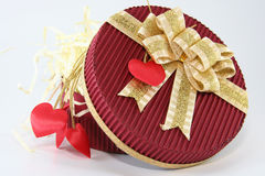 Red celebration box. Valentine decorated red box. Usefull Royalty Free Stock Image