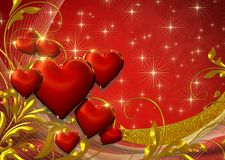 BEAUTIFUL RED FESTIVE BACKGROUND FOR VALENTINE DAY WITH RED HEARTS,GLITTER,GOLD. Red  celebration  illustration  love  heart  valentine  decoration  romance Royalty Free Stock Photos